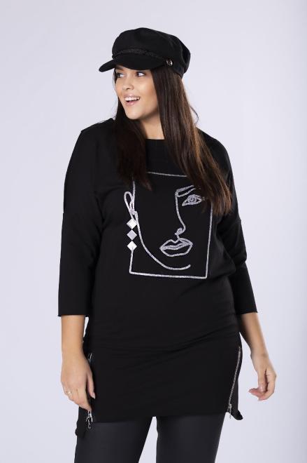 ELITE  dzianinowa sukienka z nadrukiem na biuście i ozdobnymi ekspresami na dole M82094 Платья +Size Черный оптом