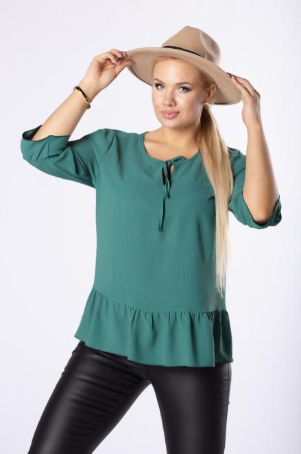DEIZ  monochromatyczna bluzka z rozcięciami na ramionach i wiązaniem przy szyi M81705 Блузки +Size Зеленый оптом