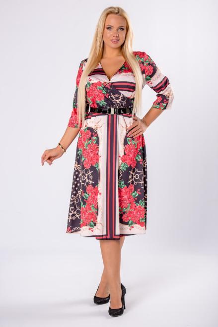 WESLEY  rozkloszowana sukienka z kopertowym dekoltem i paskiem w talii M80963 Платья +Size Multikolor оптом