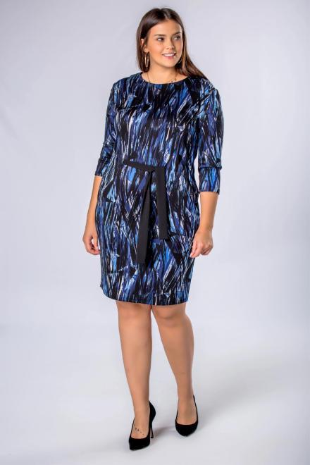 BRENDA  wzorzysta sukienka z wiązaniem w pasie M71580 Платья +Size Multikolor оптом
