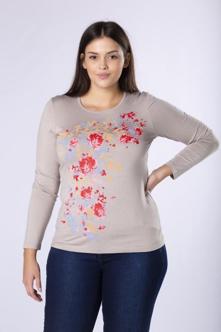 AMADEO  dopasowana bluzka z kwiatowym nadrukiem z przodu M81788 Блузки +Size Бежевый оптом