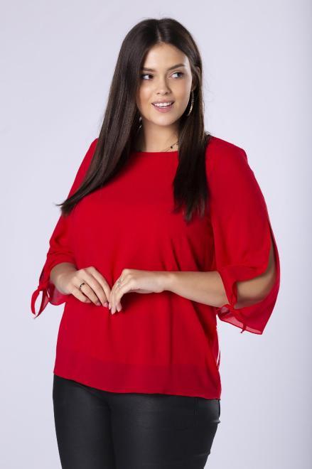 DEIZ  tiulowa bluzka z rozcięciami na rękawach i ozdobnym ściągaczem na plecach M82088 Блузки +Size Красный оптом