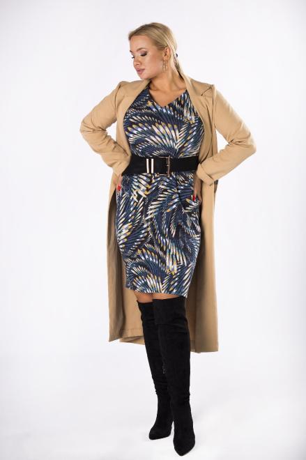 EXCLUSIVE  dzianinowa sukienka z rękawem 3/4 M82020 Платья +Size Multikolor оптом
