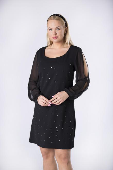 TRYNITE  taliowana sukienka z błyszczącymi ozdobami z przodu oraz rozcięciami na rękawach M82205 Платья +Size Черный оптом