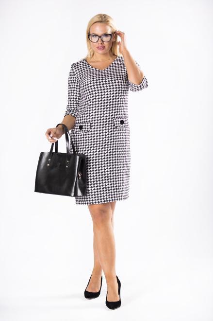 WESLEY  dzianinowa sukienka w pepitkę z dekoltem w serek M81304 Платья +Size Multikolor оптом