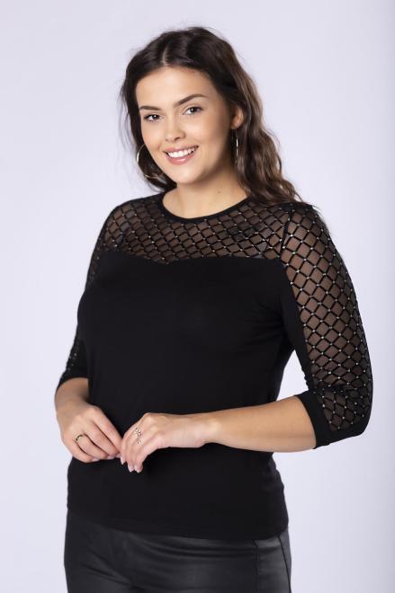 HALINA  dopasowana bluzka z tiulową wstawką na dekolcie z brokatowym wykończeniem M82005 Блузки +Size Черный оптом