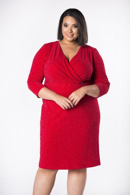 INTER IREX  monochromatyczna sukienka o kopertowym kroju z marszczeniem w pasie M74975 Платья +Size Красный оптом