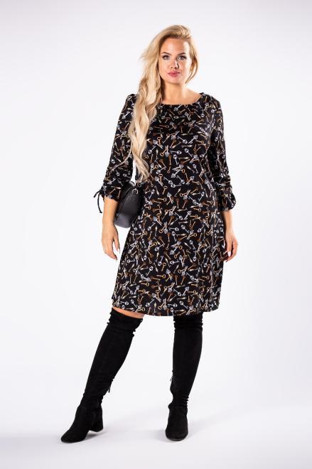 MODA DOROTHY  dzianinowa sukienka z ozdobnymi ściągaczami przy mankietach M81594 Платья +Size Черный оптом