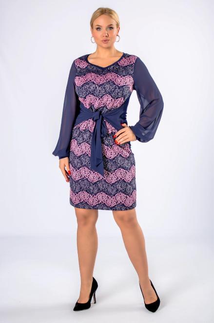IZEE  brokatowa sukienka z wiązaniem w pasie i bufiastymi rękawami M75912 Платья +Size Темносиний оптом