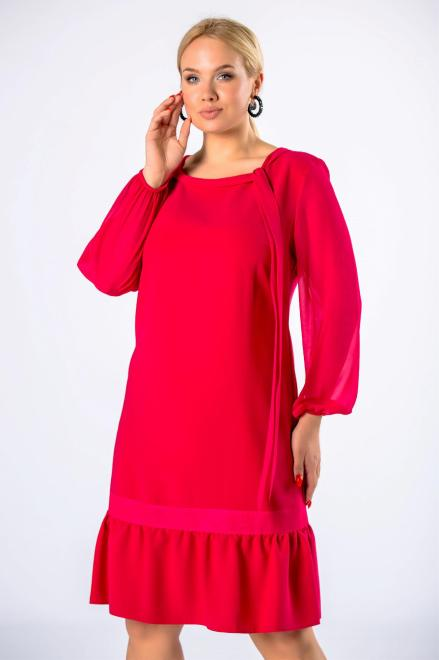 MODUSS  tiulowa sukienka o trapezowym kroju z wiązaniem przy dekolcie i falbankami na dole M82080 Платья +Size Красный оптом