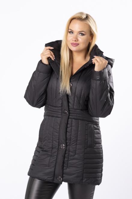 Bergamo  taliowana kurtka z kapturem i ozdobnymi guzikami M80931 Куртка +Size Черный оптом