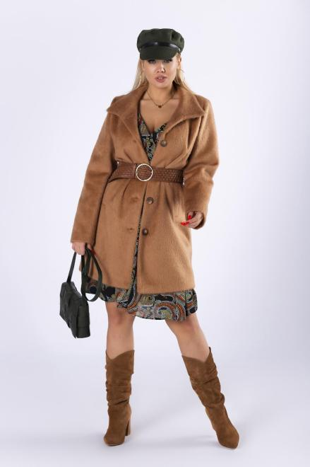 LA TOYA  futerkowy płaszcz jednorzędowy M82298 Плащ +Size Бежевый оптом