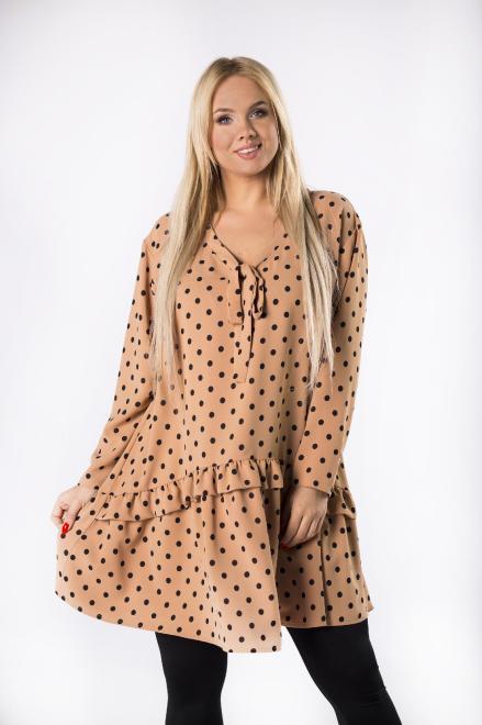 IZEE  trapezowa sukienka w groszki z wiązaniem przy szyi i falbankami M82072 Платья +Size Бежевый оптом