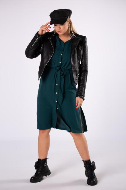 TRYNITE  sukienka szmizjerka z wiązaniem w pasie i rozcięciami po bokach M82208 Платья +Size Зеленый оптом