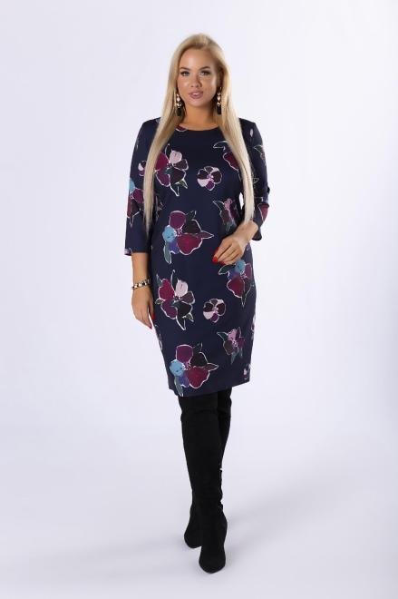 BRENDA  taliowana sukienka z rękawem 3/4 M82311 Платья +Size Темносиний оптом