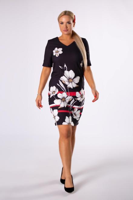 WESLEY  ołówkowa sukienka w kwiaty z długim rękawem i dekoltem w serek M81997 Платья +Size Черный оптом