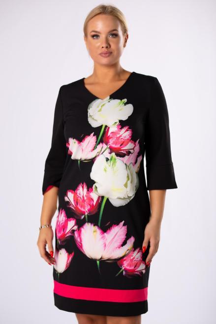 WESLEY  ołówkowa sukienka w kwiaty z falbanami przy mankietach M82029 Платья +Size Черный оптом