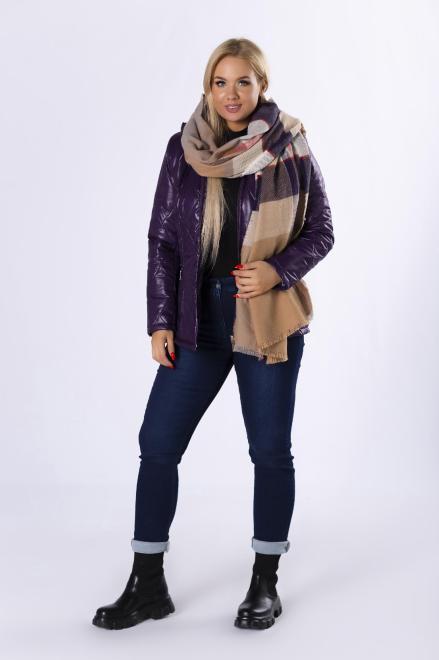 HOLI  pikowana kurtka z kapturem M82347 Куртка +Size Фиолетовый оптом