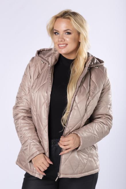 HOLI  pikowana kurtka z kapturem M76129 Куртка +Size Бежевый оптом