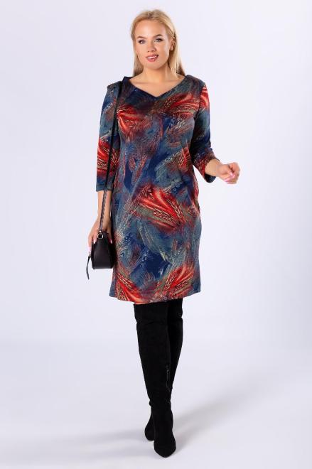 EXCLUSIVE  dzianinowa sukienka z rękawem 3/4 M82561 Платья +Size Multikolor оптом