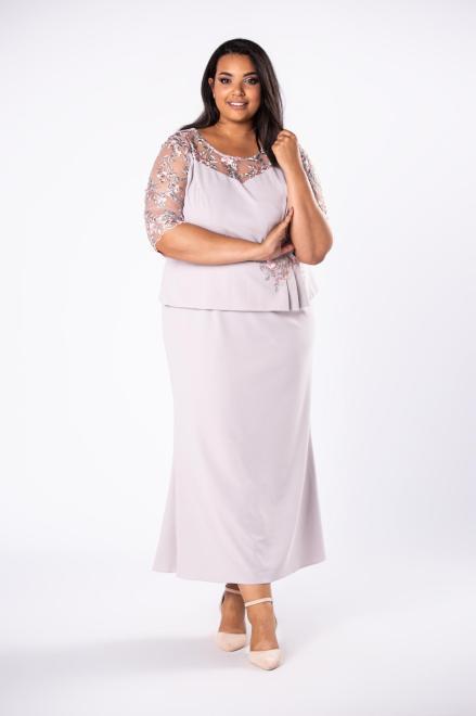 INTER IREX  elegancka sukienka maxi z koronkowymi rękawami i a