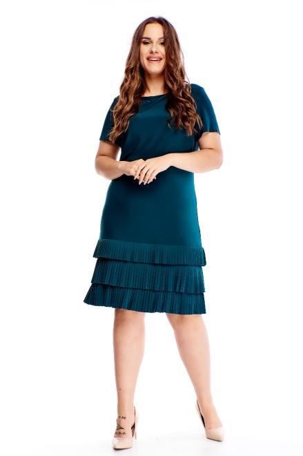 BOG-MAR  dopasowana sukienka z plisowanym dołem M70557 Платья +Size Зеленый оптом