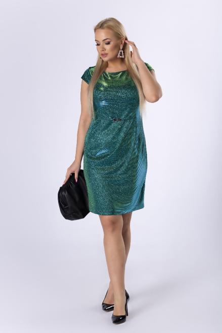 VEGAS  brokatowa sukienka z klamerką w pasie M82231 Платья +Size Зеленый оптом