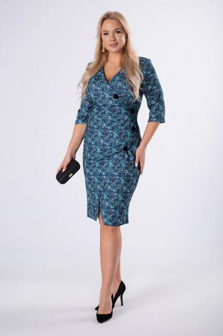 WESLEY  dopasowana sukienka z guzikami z przodu M82501 Платья +Size Multikolor оптом