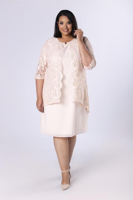 INTER IREX  elegancka sukienka z koronkowym żakietem M36682 Платья +Size Бежевый оптом