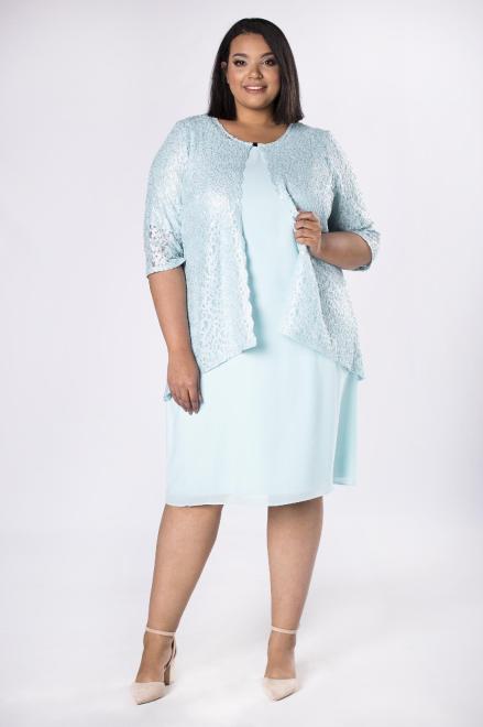 INTER IREX  elegancka sukienka z koronkowym żakietem M36682 Платья +Size Голубой оптом