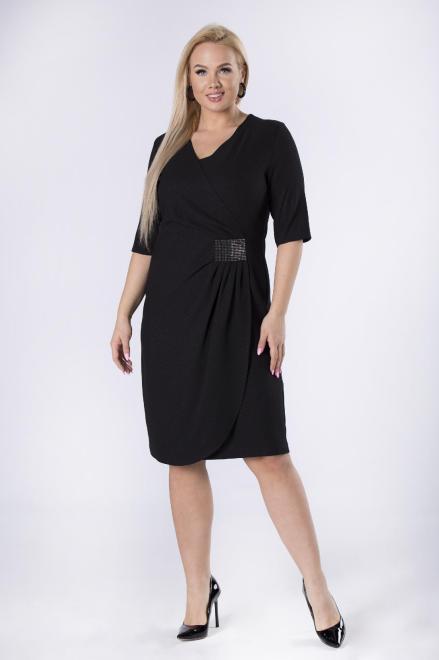 MODUSS  kopertowa sukienka z marszczeniem w pasie i rękawem 3/4 M82653 Платья +Size Черный оптом