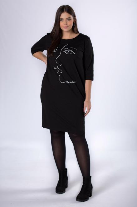 ROXANA  dzianinowa sukienka z grafiką na biuście M82656 Платья +Size Черный оптом