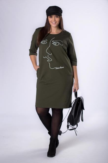 ROXANA  dzianinowa sukienka z grafiką na biuście M82656 Платья +Size Зеленый оптом