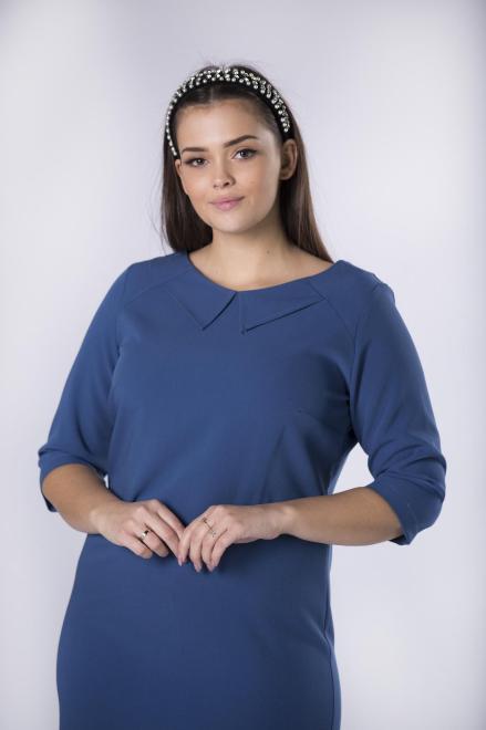 ROXANA  dopasowana sukienka z kołnierzykiem M82655 Платья +Size Голубой оптом