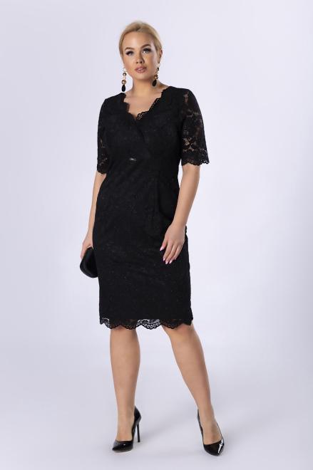 TRYNITE  koronkowa sukienka z brokatowym wykończeniem M82201 Платья +Size Черный оптом