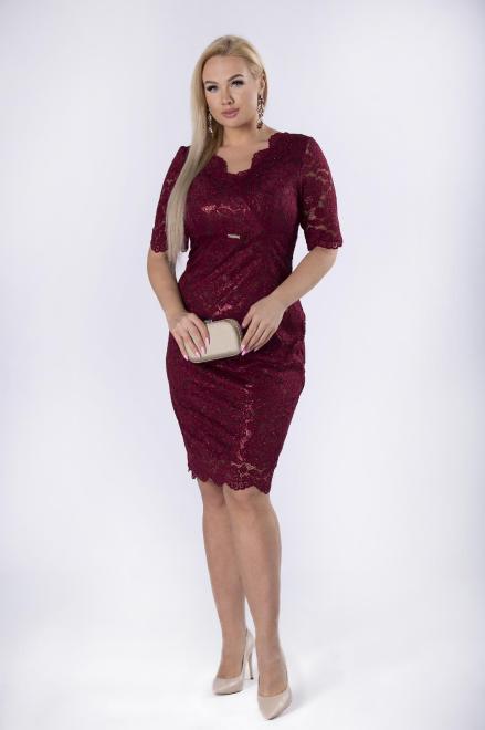 TRYNITE  koronkowa sukienka z brokatowym wykończeniem M82201 Платья +Size Бордовый оптом
