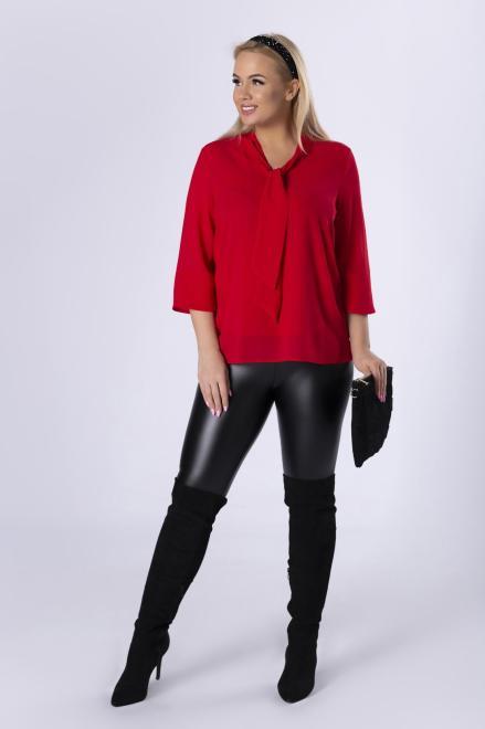 DEIZ  tiulowa bluzka z wiązaniem przy szyi M82540 Блузки +Size Красный оптом