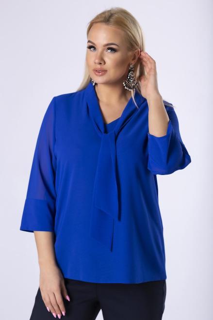 DEIZ  tiulowa bluzka z wiązaniem przy szyi M82540 Блузки +Size Голубой оптом