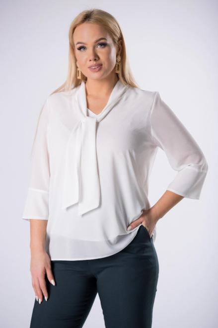 DEIZ  tiulowa bluzka z wiązaniem przy szyi M82540 Блузки +Size Кремовый оптом