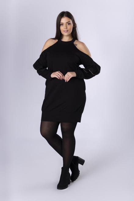 IZEE  bawełniana sukienka z rozcięciami na ramionach i falbaną na plecach M82652 Платья +Size Черный оптом