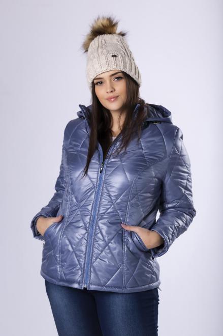 HOLI  pikowana kurtka z kapturem M82295 Куртка +Size Голубой оптом
