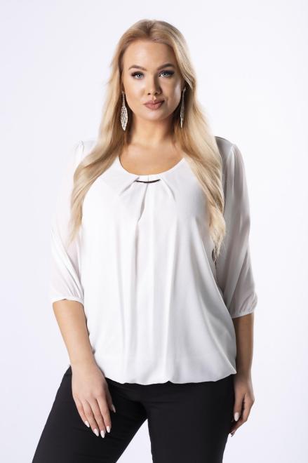 DEIZ  elegancka bluzka z zakładkami na dekolcie M40865 Блузки +Size Кремовый оптом