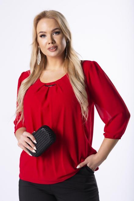 DEIZ  elegancka bluzka z zakładkami na dekolcie M40865 Блузки +Size Красный оптом