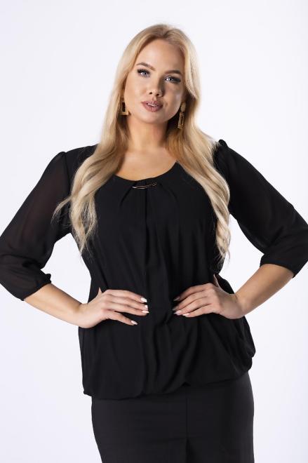 DEIZ  elegancka bluzka z zakładkami na dekolcie M40865 Блузки +Size Черный оптом