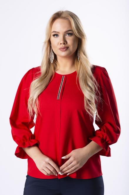 OPAL  bluzka z błyszczącą aplikacją na biuście i falbankami przy mankietach M74534 Блузки +Size Красный оптом