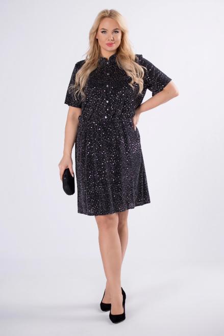 MODUSS  brokatowa sukienka szmizjerka z krótkim rękawem M82646 Платья +Size Multikolor оптом