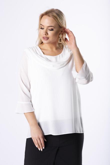 DEIZ  tiulowa bluzka z ozdobnym dekoltem M73470 Блузки +Size Белый оптом