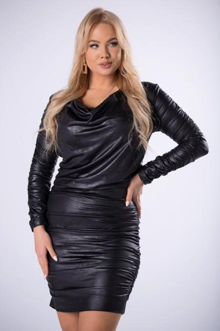 TRYNITE  dopasowana sukienka z imitacji skóry z ozdobnymi marszczeniami M82798 Платья +Size Черный оптом