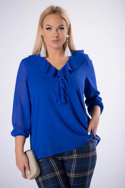 DEIZ  bluzka z falbankami na biuście i tiulowymi rękawami M82824 Блузки +Size Голубой оптом