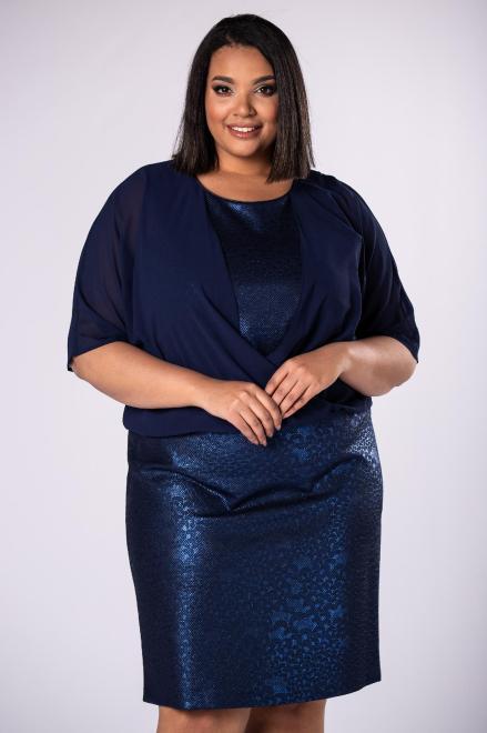 INTER IREX  dopasowana sukienka z tiulową górą imitującą bluzkę M79602 Платья +Size Темносиний оптом